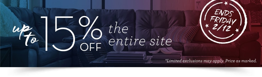 Up to 15% off the entire site! Ends Friday 2/12.