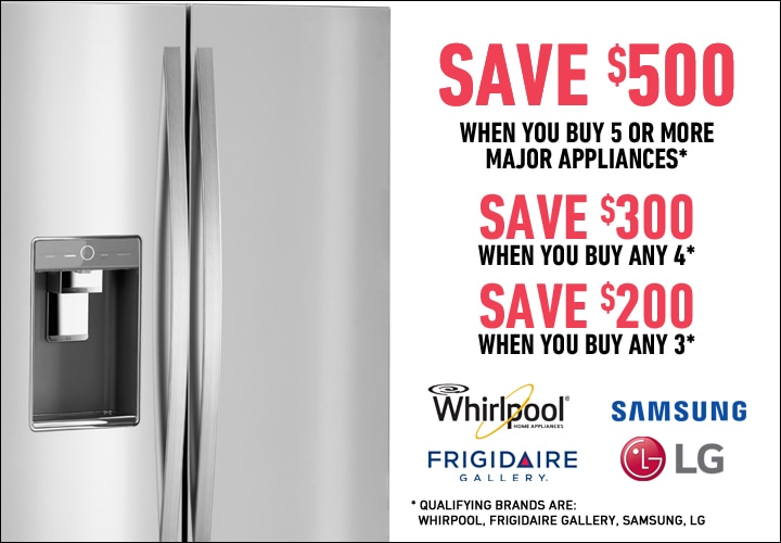 Save $500 on select 5pc Appliance Packages