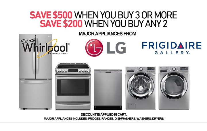 Save $500 on select 3pc Appliance Packages