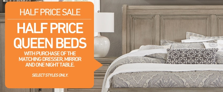 Half Price Queen Bed with purchase of the matching dresser, mirror and one night table