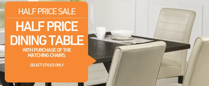 Half Price Dining Table with purchase of the matching chairs.