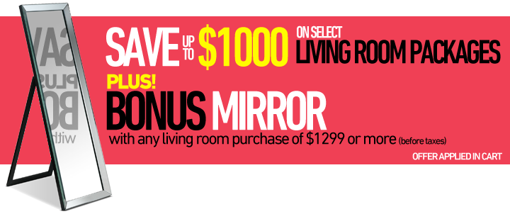 Save up to $1000 on select Living Room packages