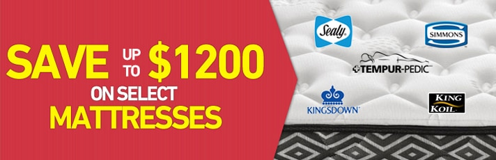 Save up to $1200 on select Mattresses
