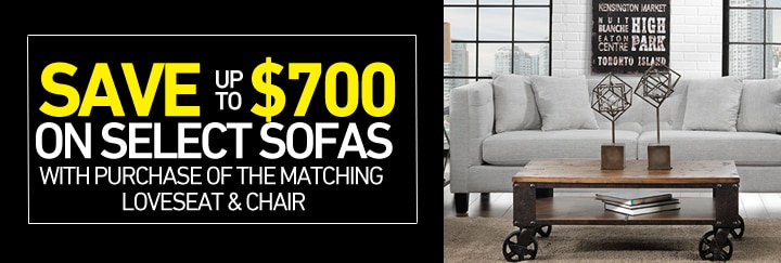 Save up to $700 on select Sofas with purchase of the matching loveseat & chair
